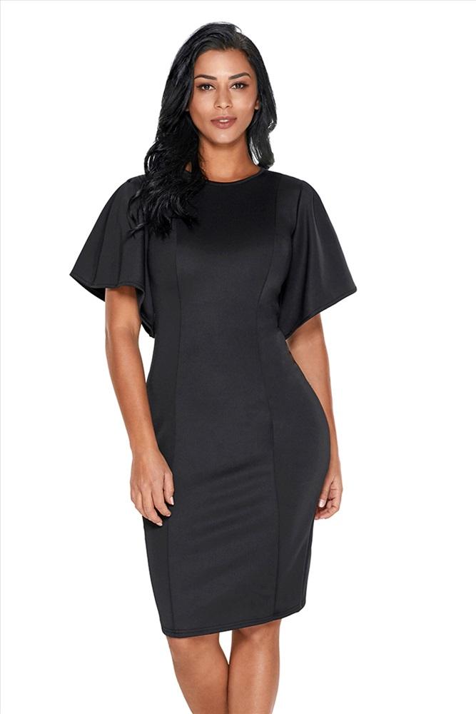 Черное Платье С Рукавами Крылышками