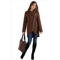 96f17f46200 14-0023-09 Пальто женское демисезонное Кашемир темный кэмел